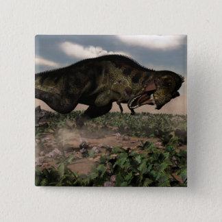 Tyrannosaurus rex roaring at a triceratops 15 cm square badge