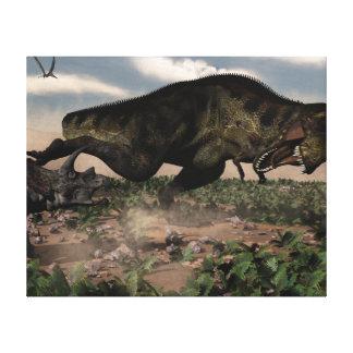 Tyrannosaurus rex roaring at a triceratops canvas print