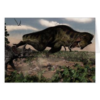 Tyrannosaurus rex roaring at a triceratops card