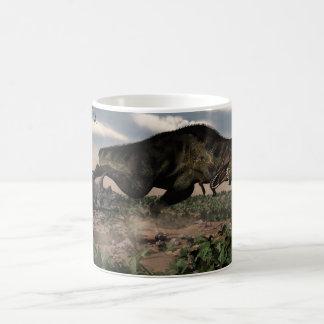 Tyrannosaurus rex roaring at a triceratops coffee mug