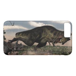 Tyrannosaurus rex roaring at a triceratops iPhone 8 plus/7 plus case
