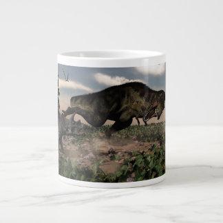 Tyrannosaurus rex roaring at a triceratops large coffee mug