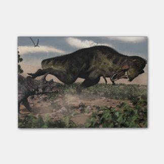 Tyrannosaurus rex roaring at a triceratops post-it notes