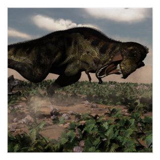 Tyrannosaurus rex roaring at a triceratops poster