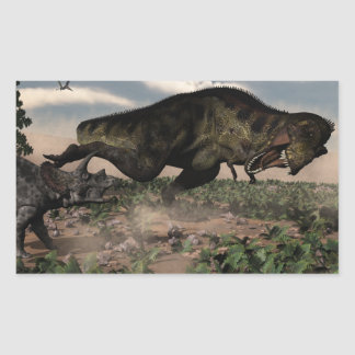 Tyrannosaurus rex roaring at a triceratops rectangular sticker