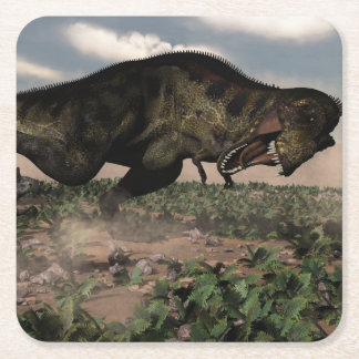 Tyrannosaurus rex roaring at a triceratops square paper coaster