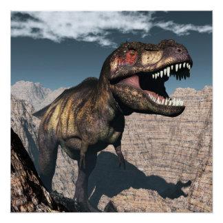 Tyrannosaurus rex roaring in a canyon