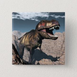 Tyrannosaurus rex roaring in a canyon 15 cm square badge