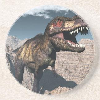 Tyrannosaurus rex roaring in a canyon coaster