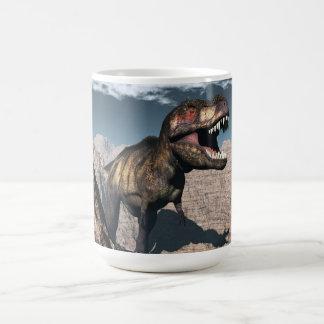 Tyrannosaurus rex roaring in a canyon coffee mug