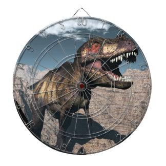 Tyrannosaurus rex roaring in a canyon dartboard