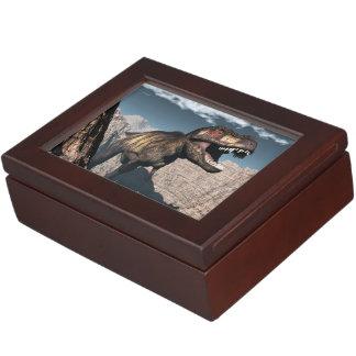Tyrannosaurus rex roaring in a canyon keepsake box