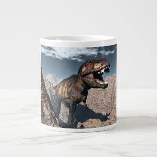 Tyrannosaurus rex roaring in a canyon large coffee mug