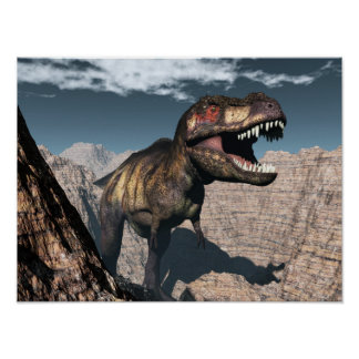 Tyrannosaurus rex roaring in a canyon poster
