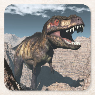 Tyrannosaurus rex roaring in a canyon square paper coaster