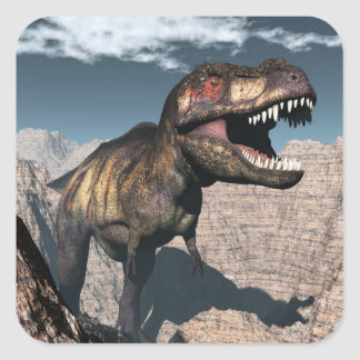Tyrannosaurus rex roaring in a canyon square sticker