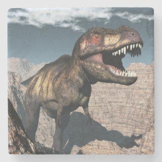 Tyrannosaurus rex roaring in a canyon stone coaster