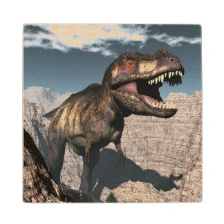 Tyrannosaurus rex roaring in a canyon wood coaster