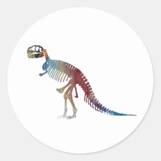 Tyrannosaurus rex skeleton art classic round sticker