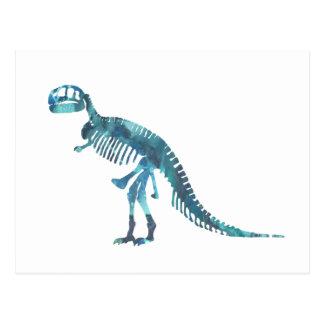 Tyrannosaurus rex skeleton art postcard