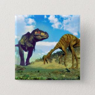 Tyrannosaurus rex surprising gallimimus dinosaurs 15 cm square badge