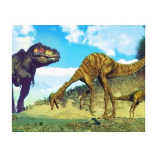 Tyrannosaurus rex surprising gallimimus dinosaurs canvas print