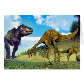 Tyrannosaurus rex surprising gallimimus dinosaurs card