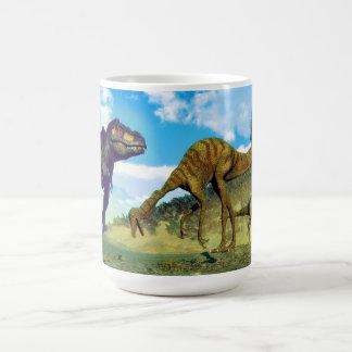 Tyrannosaurus rex surprising gallimimus dinosaurs coffee mug