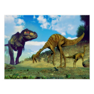 Tyrannosaurus rex surprising gallimimus dinosaurs poster