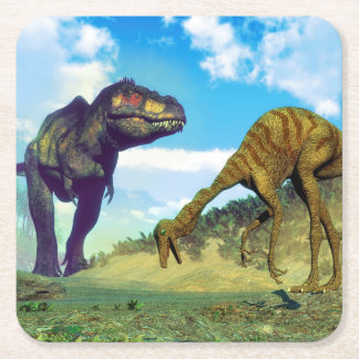 Tyrannosaurus rex surprising gallimimus dinosaurs square paper coaster