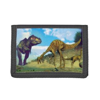 Tyrannosaurus rex surprising gallimimus dinosaurs trifold wallet