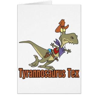 tyrannosaurus rex tex cowboy dinosaur greeting card