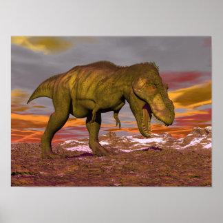 Tyrannosaurus roaring - 3D render Poster