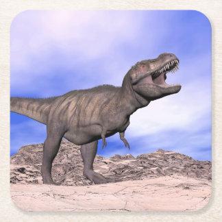 Tyrannosaurus roaring - 3D render Square Paper Coaster