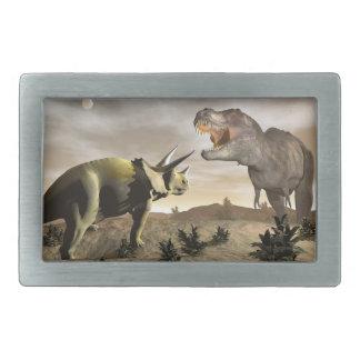 Tyrannosaurus roaring at triceratops - 3D render Belt Buckle