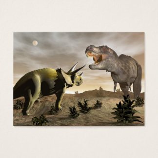 Tyrannosaurus roaring at triceratops - 3D render Business Card