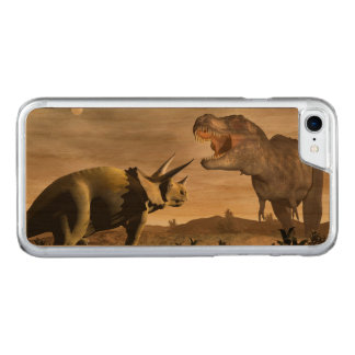 Tyrannosaurus roaring at triceratops - 3D render Carved iPhone 8/7 Case