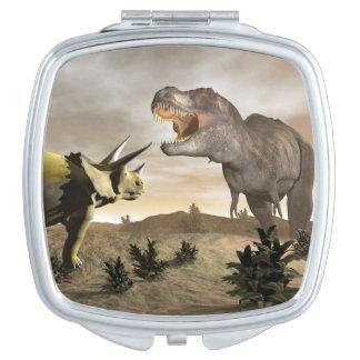 Tyrannosaurus roaring at triceratops - 3D render Compact Mirrors