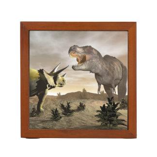 Tyrannosaurus roaring at triceratops - 3D render Desk Organiser