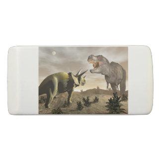 Tyrannosaurus roaring at triceratops - 3D render Eraser