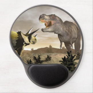 Tyrannosaurus roaring at triceratops - 3D render Gel Mouse Pad