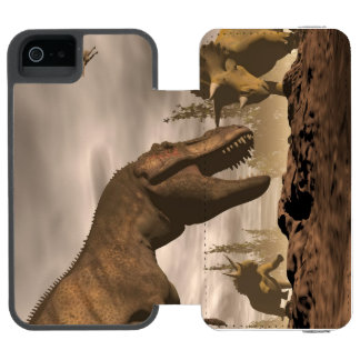 Tyrannosaurus roaring at triceratops - 3D render Incipio Watson™ iPhone 5 Wallet Case