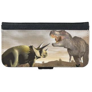 Tyrannosaurus roaring at triceratops - 3D render iPhone 6 Wallet Case