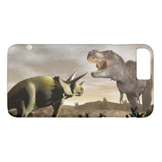 Tyrannosaurus roaring at triceratops - 3D render iPhone 8 Plus/7 Plus Case