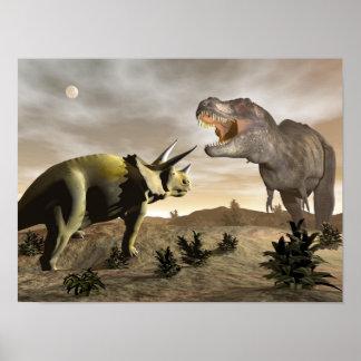 Tyrannosaurus roaring at triceratops - 3D render Poster