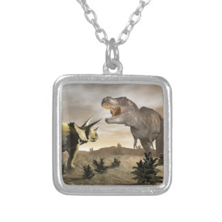 Tyrannosaurus roaring at triceratops - 3D render Silver Plated Necklace