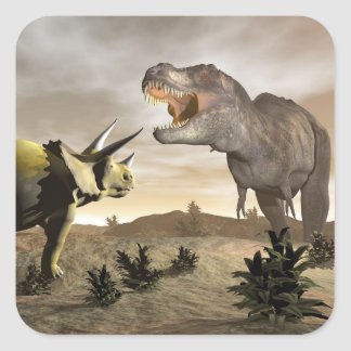 Tyrannosaurus roaring at triceratops - 3D render Square Sticker