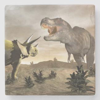 Tyrannosaurus roaring at triceratops - 3D render Stone Coaster