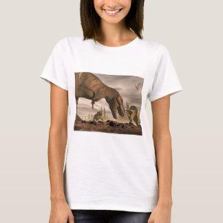 Tyrannosaurus roaring at triceratops - 3D render T-Shirt