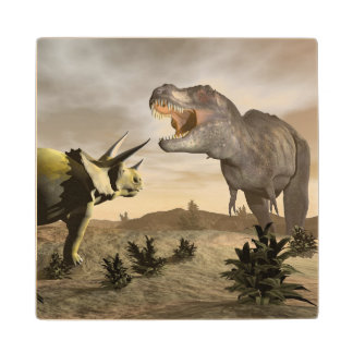 Tyrannosaurus roaring at triceratops - 3D render Wood Coaster